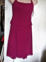 BNWT LADIES CERISE MERLOT CHIFFON 2 PC HALTER WEDDING SUIT DESSY 12 USA 10 £186